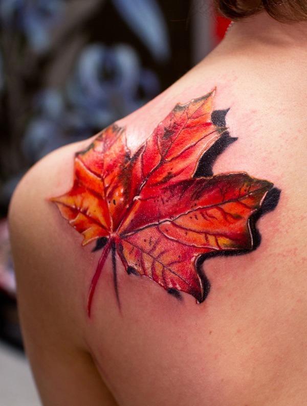 fotos-de-tatuajes-3d-hoja-de-arbol-otoño