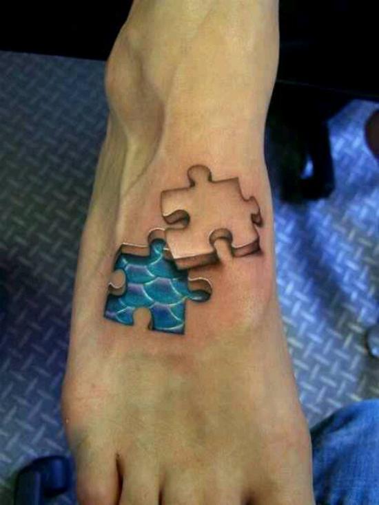 fotos-de-tatuajes-3d-piezas-de-puzzle-en-el-pie