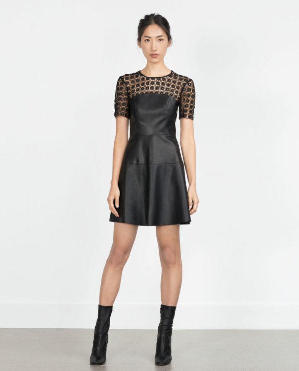 vestidos-navidad-2015-VESTIDOS-CORTOS-modelo-de-cuero-y-crochet-de-zara