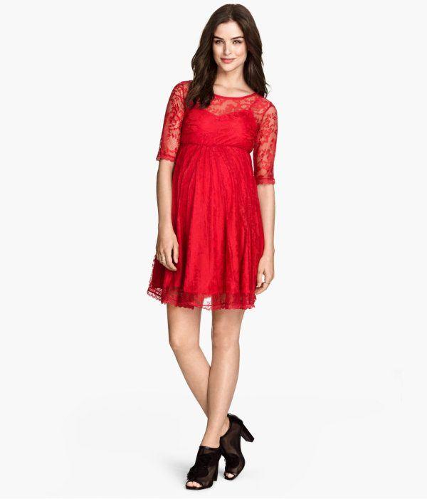 vestidos-de-fiesta-2015-para-mujeres-embarazadas-modelo-rojo-encaje-de-h&m