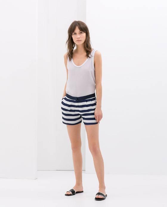 tendencias-shorts-para-mujer-primavera-verano-2014-modelo-zara-estampado-rayas