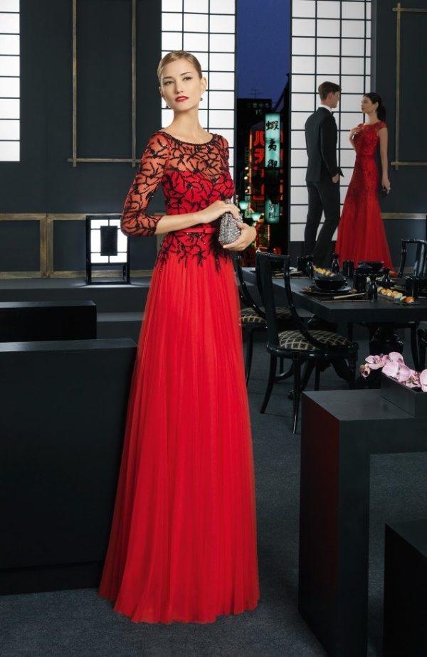 El color en los Vestidos de fiesta Rosa Clara Primavera Verano 2015-2016-vestido-rojo