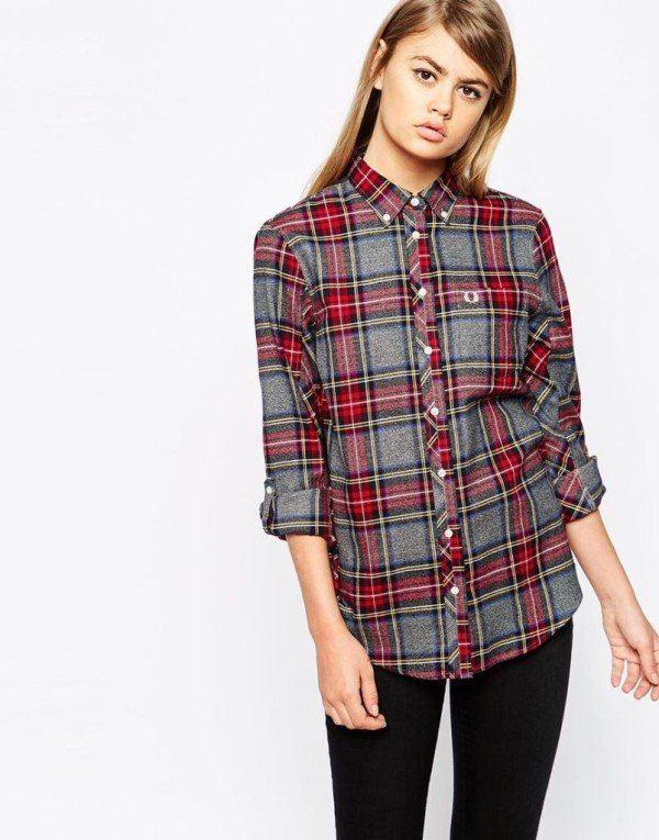 moda-otono-invierno-para-mujer-camisetas-y-camisas-CAMISAS-estampado-cuadros-Fred-Perry