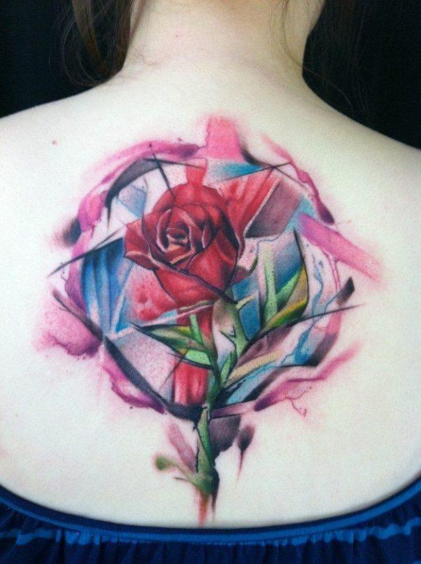 tatuajes-acuarela-para-mujeres-rosa