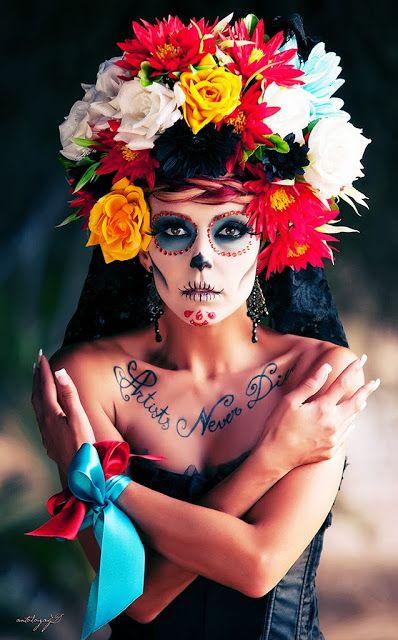 maquillaje-catrina-halloween-flores