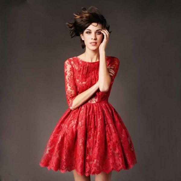 vestidos-de -fiesta-rojos-modaella-corto-encaje