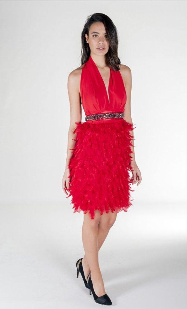 vestidos-de -fiesta-rojos-modaella-plumas-corto