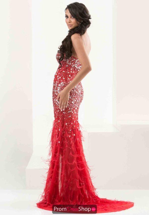 vestidos-de -fiesta-rojos-modaella-plumas-lentejuela-a