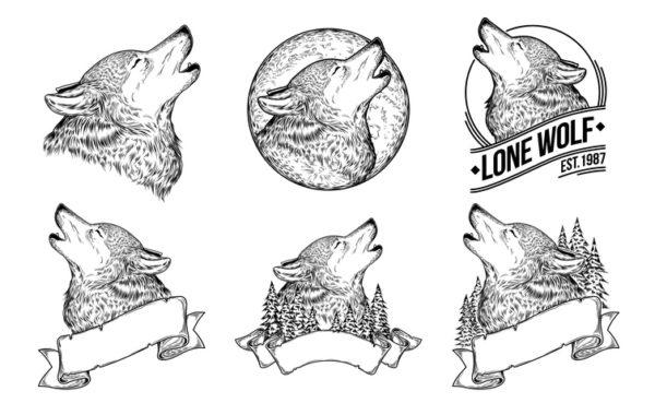 Tatuajes de lobos grandes medio cuerpo aullando