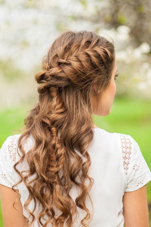 Peinados de novia semirecogidos con ondas
