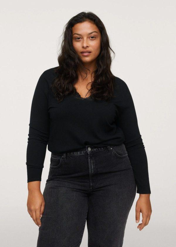 Catálogo de Mango Otoño Invierno 2021 2022 para mujeres de talla grande jersey encaje