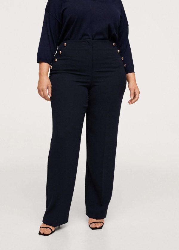 Catálogo de Mango Otoño Invierno 2021 2022 para mujeres de talla grande pantalon recto botones