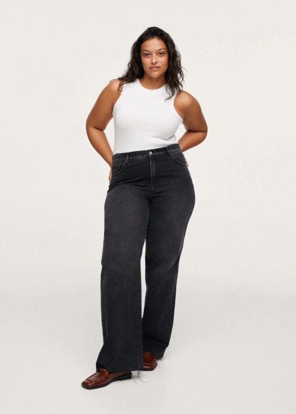 Catálogo de Mango Otoño Invierno 2021 2022 para mujeres de talla grande pantalon tejano gris