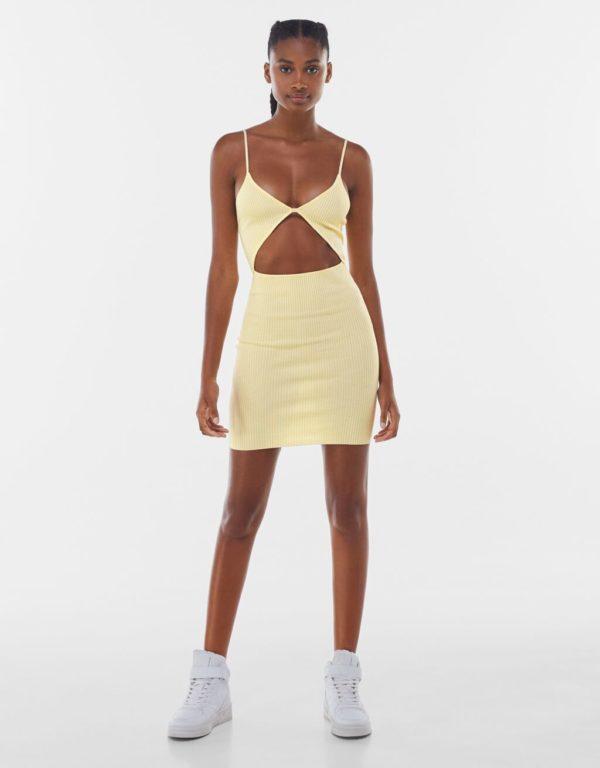 Catalogo bershka primavera verano 2021 vestido cut out amarillo