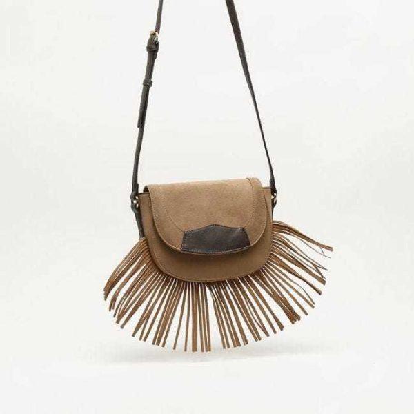 Catalogo de bolsos de misako bandolera flecos marron