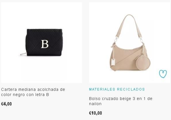 Bolsos Primark negro con letra B y bolso beige de nylon reciclado