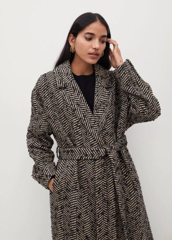 Rebajas MANGO invierno 2021 abrigo lana espiga