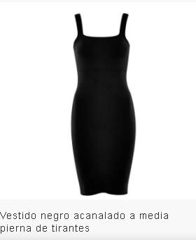 Vestido negro acanalado tirantes negro
