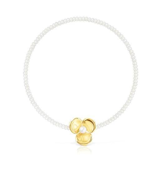 Rebajas tous verano 2021 Collar Fragile Nature de perlas y plata vermeil
