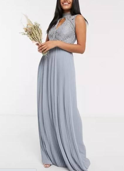 Vestido de dama de honor azul polvo