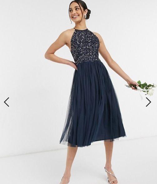 Vestido dama de honor midi, azul, cuello halter