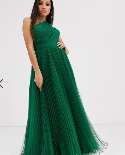 Vestido de dama de honor largo verde bosque