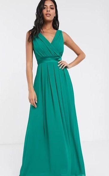 Vestido de dama de honor largo en verde esmeralda