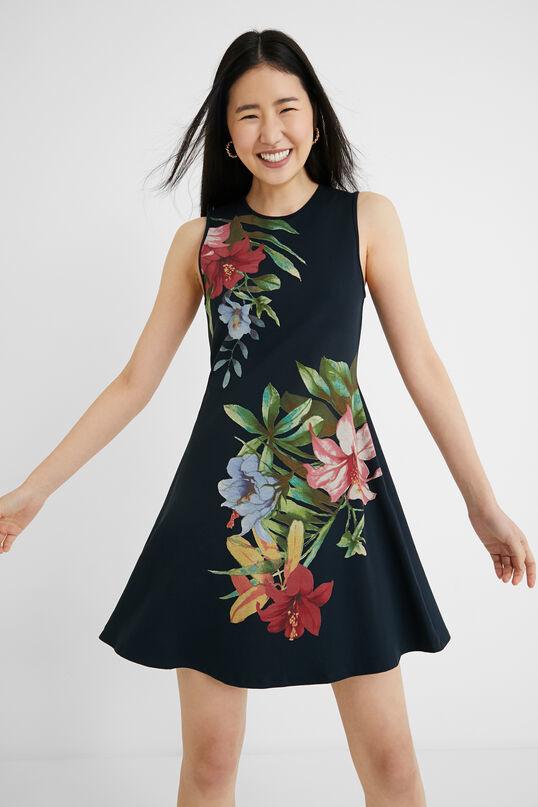Vestido corto evasé de flores Desigual