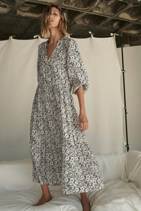 Catalogo zara premama 2021 vestido oversize flores