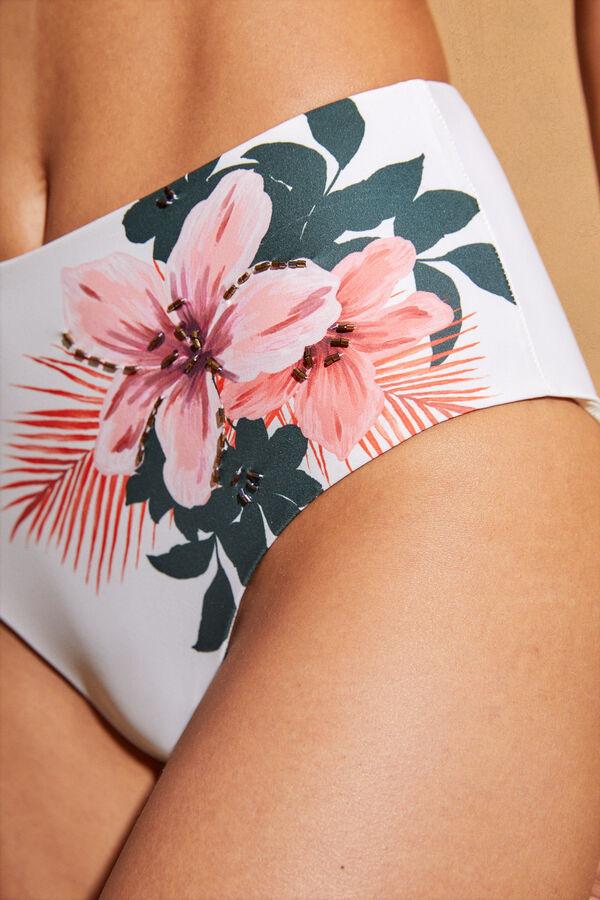 Bikini de braga alta blanco con flores Women´secret