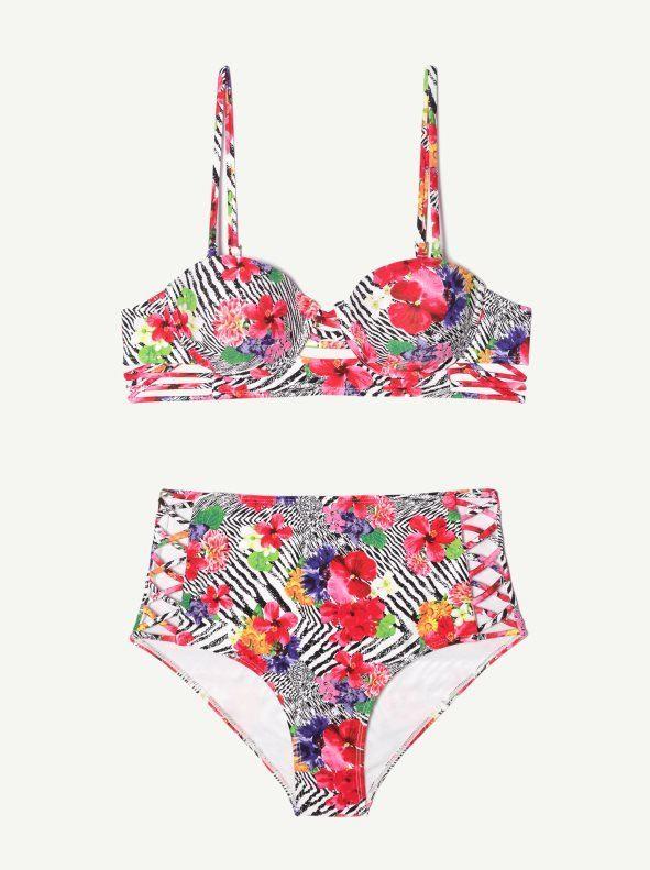 Bikini de braga alta flores rosas Venca