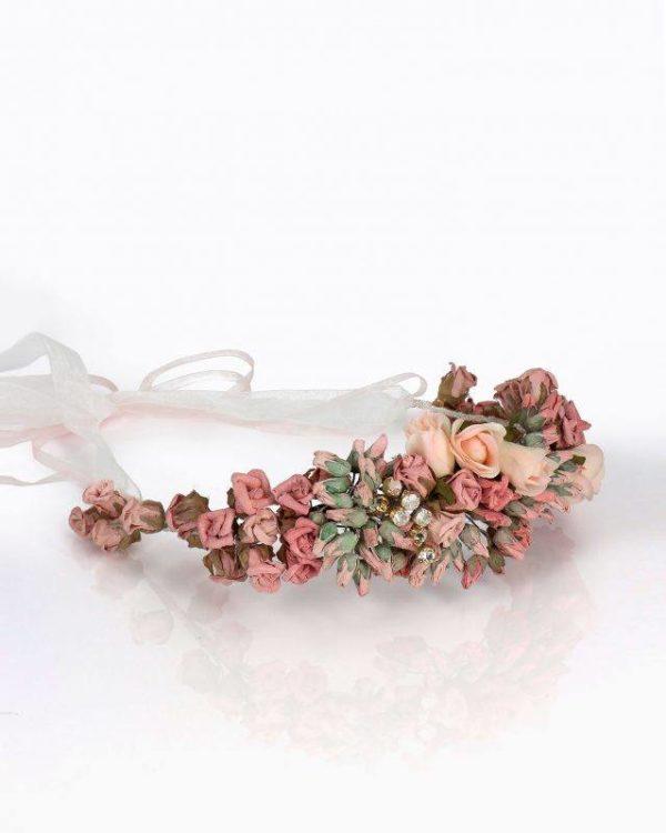 Tocados pelo corto 2021 tocado de novia rosa clara flores de papel