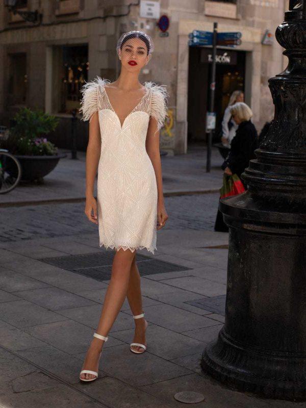 Vestidos de novia cortos 2021 pronovias lentejuelas