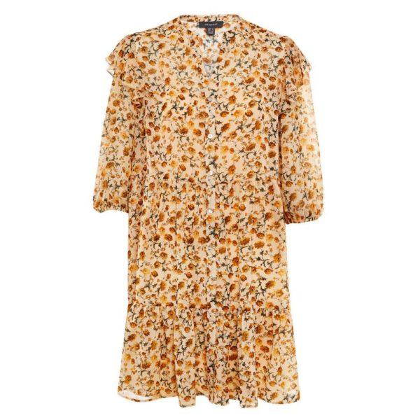 Catalogo PRIMARK primavera verano vestido gasa amarilla estampado