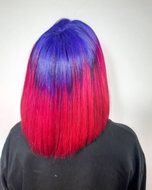 Pelo bob bicolor azul y rojo