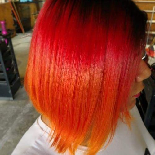 Corte bob pelo anaranjado