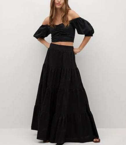 Falda popelín negra