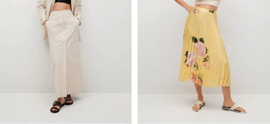 Faldas blanca y plisada floral amarillas Mango