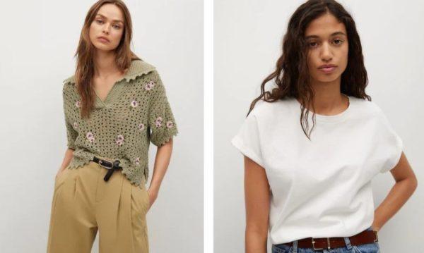 Top de crochet y camiseta básica de algodón