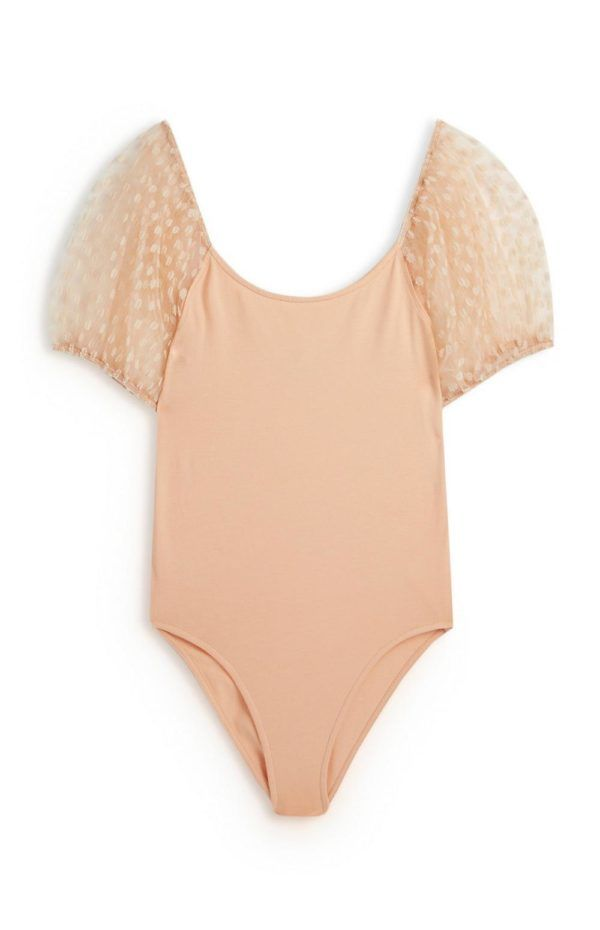 Rebajas primark para mujer 2021 Body rosa palo de malla con mangas abombadas con lunares