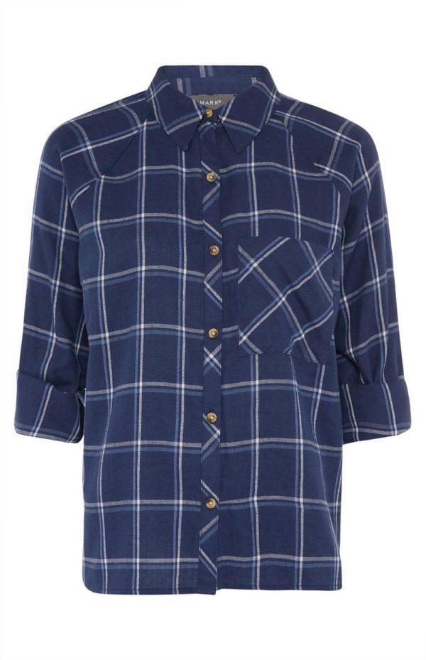 Rebajas primark para mujer 2021 Camisa azul marino a cuadros con mangas vueltas
