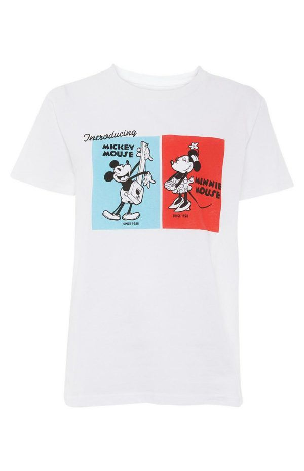 Rebajas primark para mujer 2021 Camiseta blanca de Mickey y Minnie Mouse de Disney