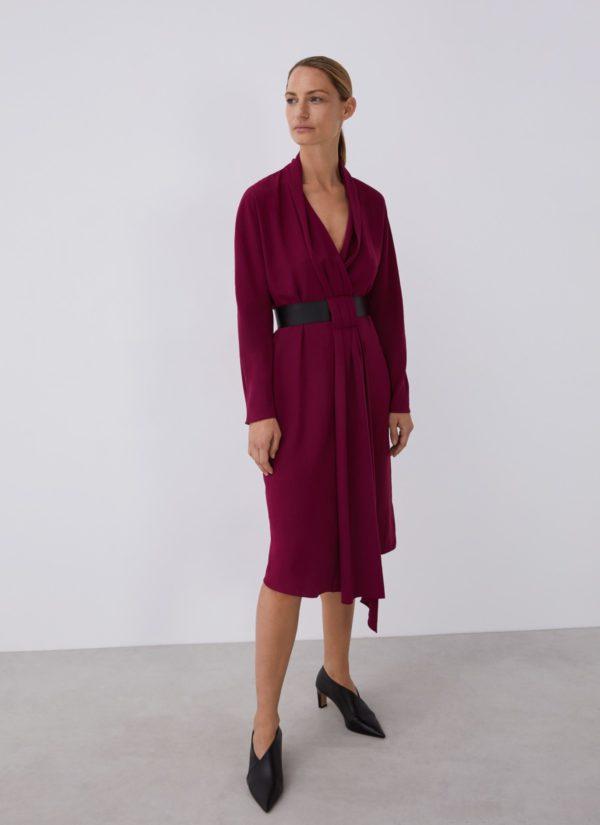 Vestidos adolfo dominguez otoño invierno vestido envolvente cinturon polipiel