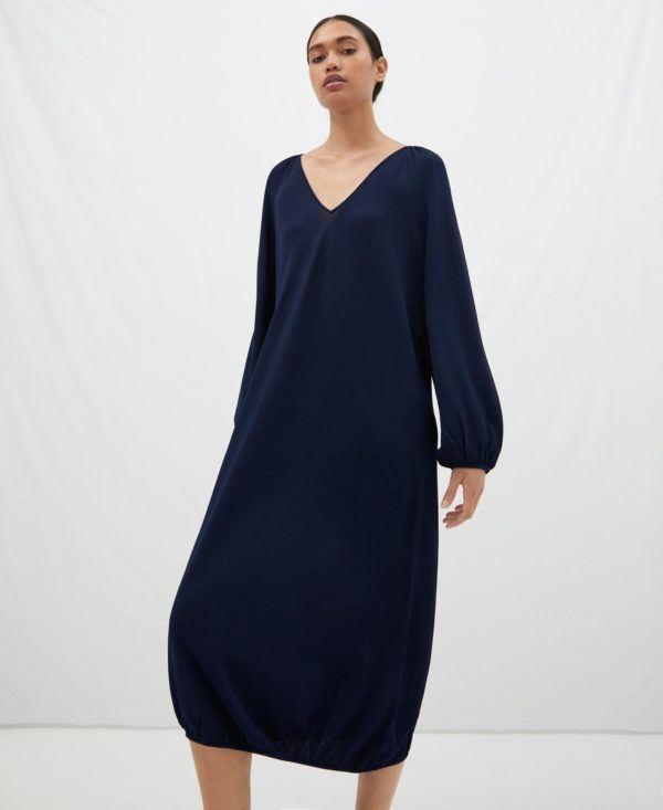 Vestidos adolfo dominguez otoño invierno vestido largo silueta globo azul