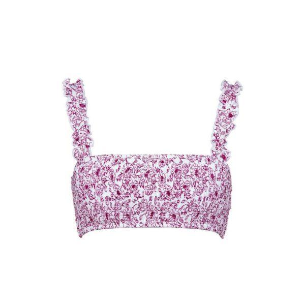 Rebajas primark para mujer verano 2021 Top de bikini rosa con estampado y tirantes con volantes