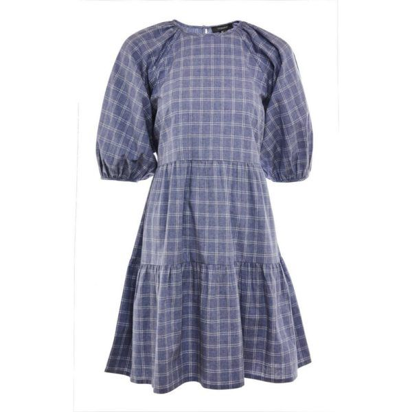 Rebajas primark para mujer verano 2021 Vestido corto azul marino a capas con estampado de cuadros