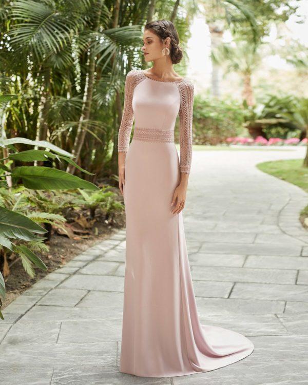 Vestidos de fiesta largos rosa clara 2021 vestido modelo 5t117
