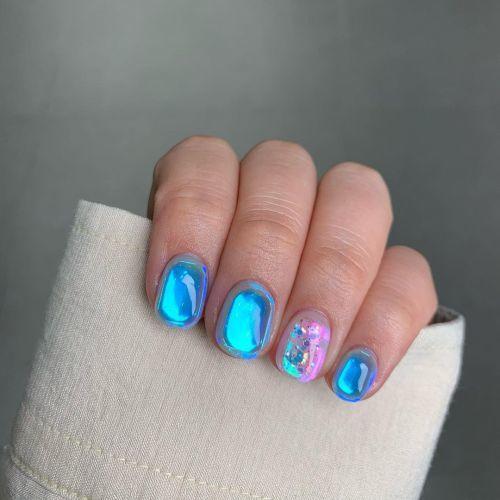 Uñas azul mar efecto aurora