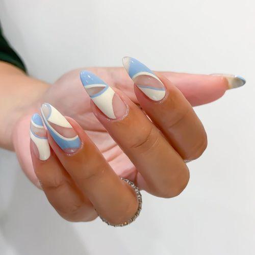 Uñas blancas con azules