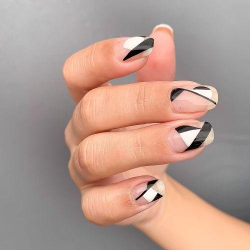 Uñas negro con blanco